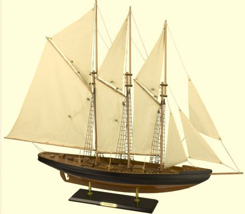 Atlantic Model Display Yacht 80cm Wooden Assembled Holder of the Longest-Standing Speed Record